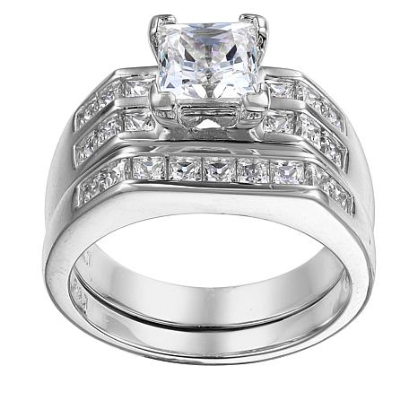 Absolute™  2.30ctw Cubic Zirconia Princess-Cut 2-piece Bridal Ring Set