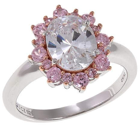 Absolute™ 2.44ctw Clear and Pink Cubic Zirconia Ring