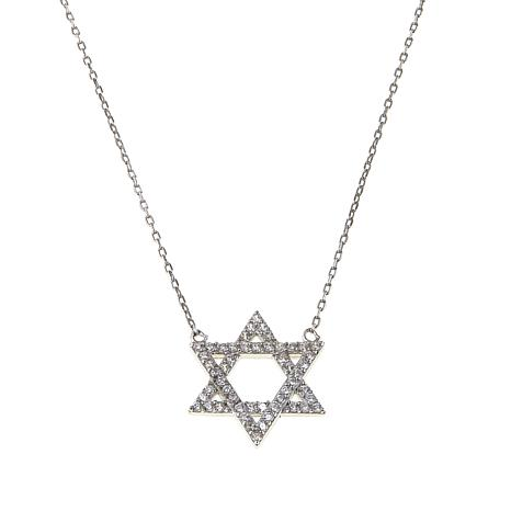 "Absolute™ .25ctw CZ Pavé Star of David 18"" Drop Necklace"