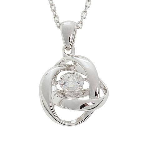 """Absolute™ .25ctw Dancing CZ Interlocking Pendant with 18"""" Chain"""