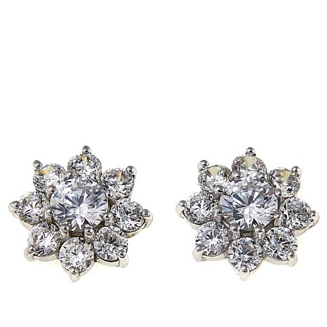 Absolute™ 2.60ctw CZ Sterling Silver Flower Stud Earrings