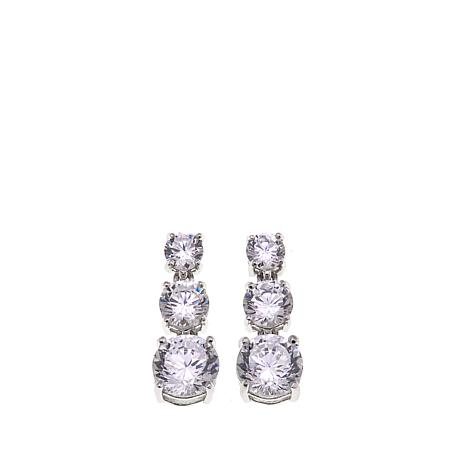 Absolute™ 2.80ctw CZ  100-Facet Round 3-Stone Drop Earrings