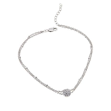 Absolute™ .28ctw CZ Sterling Silver Pavé Station Anklet
