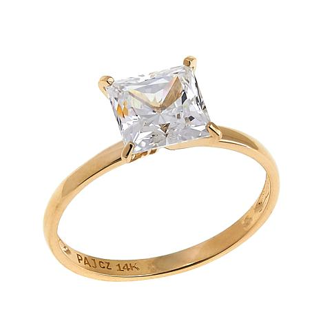 Absolute™ 2ctw CZ 14K Princess Solitaire Ring