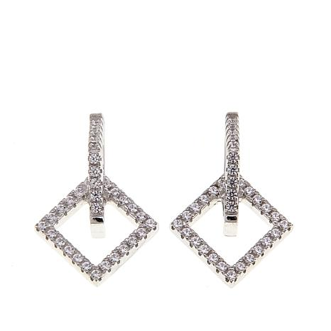 Absolute™ .33ctw Cubic Zirconia Double Square Drop Earrings