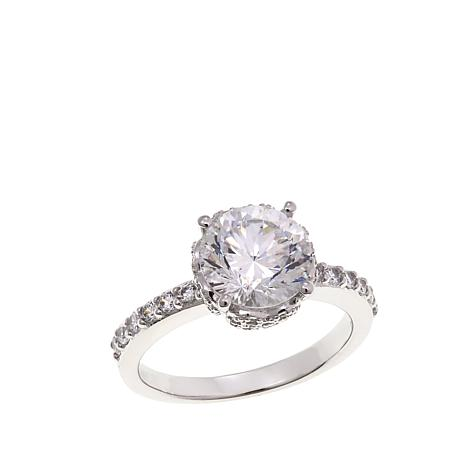 Absolute™ 3.41ctw CZ Round Pavé Gallery Ring