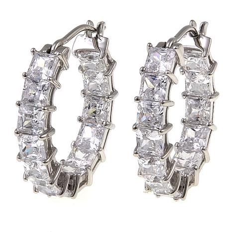 Absolute™ 3.90ctw CZ Sterling Silver Inside-Outside Hoop Earrings