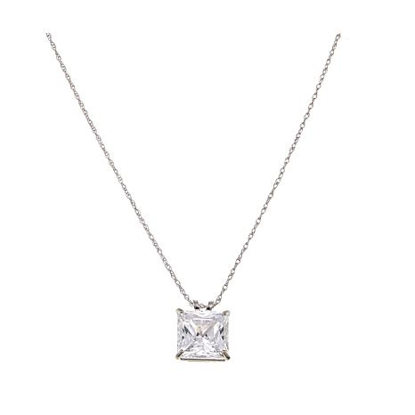 """Absolute™ 3ctw CZ 14K Princess Solitaire Pendant with 18"""" Chain"""