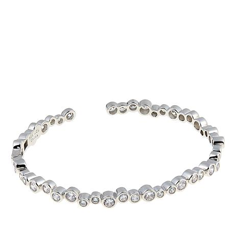 Absolute™ 4.14ctw CZ Sterling Silver Round Bubble Cuff Bracelet