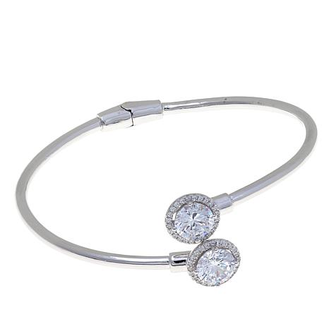 Absolute™ 4.28ctw CZ Round-Cut Hinged Bypass Bracelet