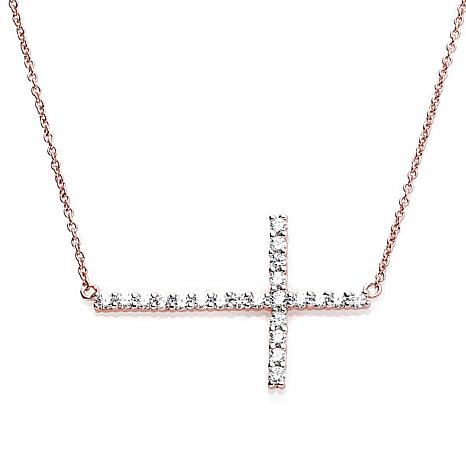 Absolute™ .45ctw CZ Rose Gold-Plated Sterling Silver  Cross Necklace