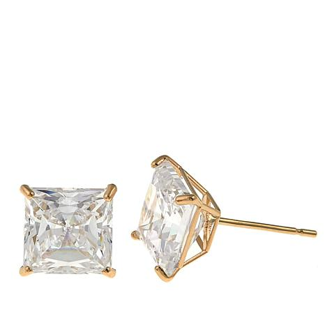 Absolute™ 4ctw CZ 14K Princess Stud Earrings