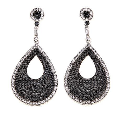 Absolute™ 5.30ctw CZ  Black and White Pear Drop Earrings