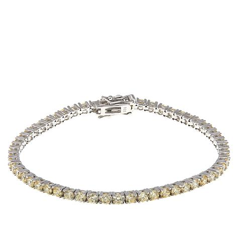 """Absolute™ 5.60ctw Canary CZ Sterling Silver 7-1/2"""" Line Bracelet"""