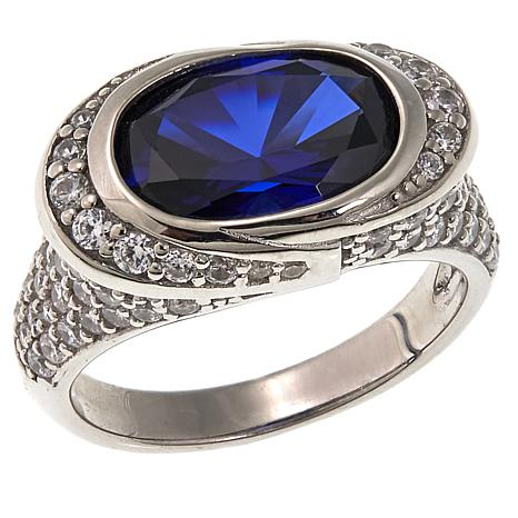 Absolute™ 5.66ctw Created Sapphire and CZ Oval East/West Ring