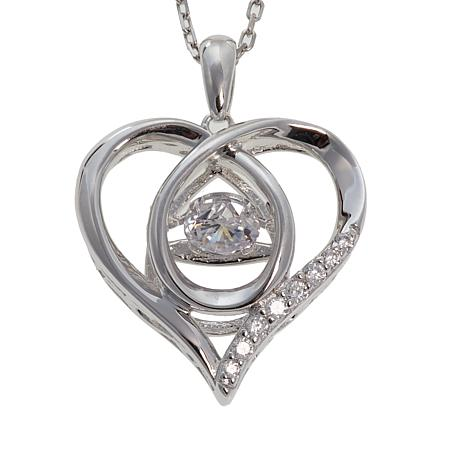 """Absolute™ .59ctw Dancing CZ Heart Pendant with 18"""" Chain"""