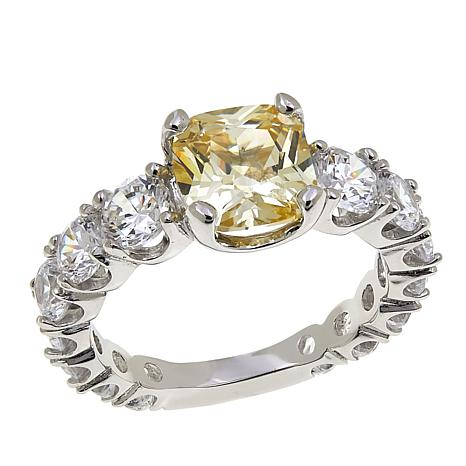 Absolute™ 5ctw CZ Canary Cushion with Clear Sides Ring