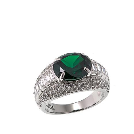 Absolute™ 6.13ctw CZ and Simulated Emerald Oval Center Ring