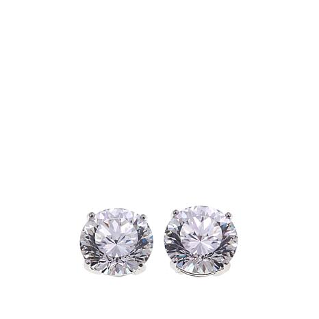 Absolute™ 6ctw CZ Sterling Silver 100-Facet Round Stud Earrings