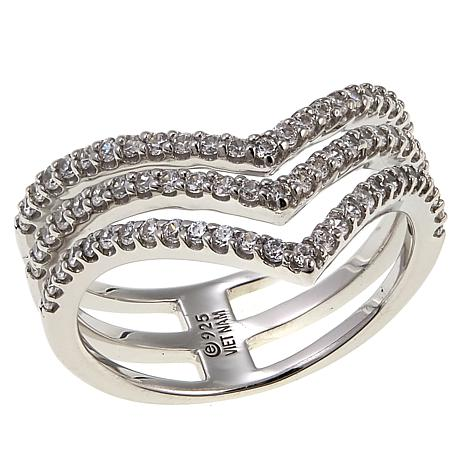 Absolute™ .77ctw CZ Sterling Silver Chevron Ring