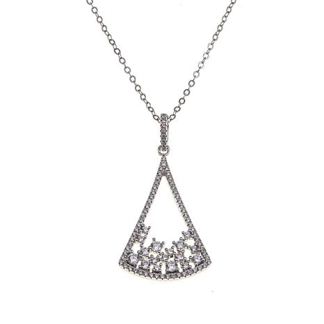 Absolute™ .80ctw Cubic Zirconia Geometric Cluster Pendant with Chain