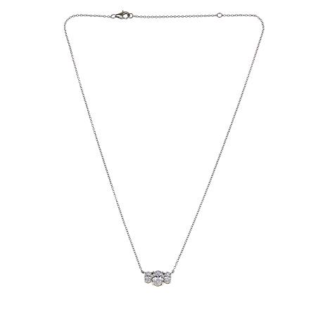 Absolute™ Cubic Zirconia Adjustable 3-Stone Oval Necklace