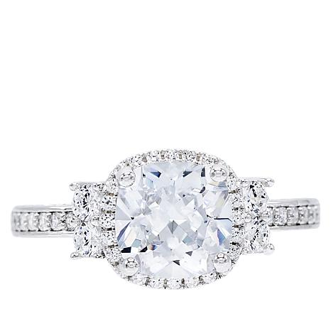 Absolute™ Cubic Zirconia Cushion Center with Round Sides Ring