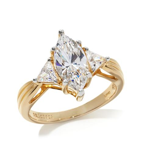 Absolute™ Cubic Zirconia Marquise and Triangular Gold-Plated Ring