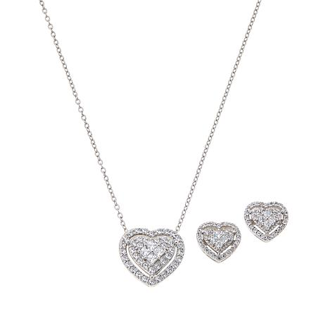 Absolute™ Cubic Zirconia Pavé Cluster Pendant and Earrings Set