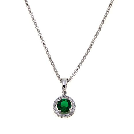 Absolute cubic zirconia and simulated emerald sterling silver open absolute cubic zirconia and simulated emerald sterling silver open frame halo pendant with 18 chain aloadofball Choice Image
