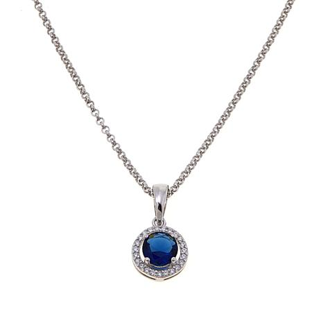 Absolute™ CZ and Simulated Sapphire Pendant