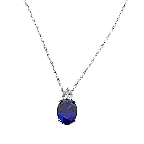 "Absolute™ CZ Oval and Multi-Shape Pendant with 18"" Chain"