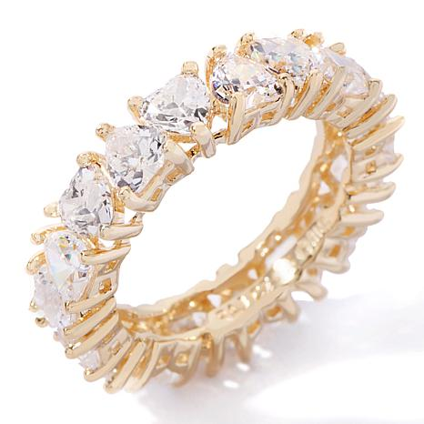 """Absolute™ """"Eternal Love"""" Cubic Zirconia Gold-Plated Heart-Shaped Ring"""