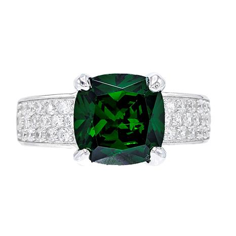 Absolute™ Simulated Emerald Cushion with Pavé Sides Ring