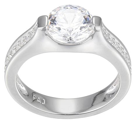 Absolute™ Sterling Silver 2.18ctw Cubic Zirconia 2-Prong Round Ring