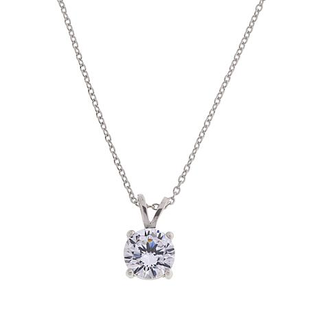 Absolute™ Sterling Silver Cubic Zirconia 8mm Round Pendant with Chain