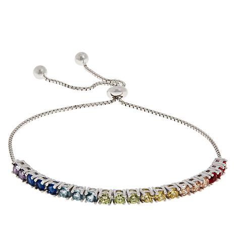 Absolute™ Sterling Silver Cubic Zirconia Adjustable Rainbow Bracelet