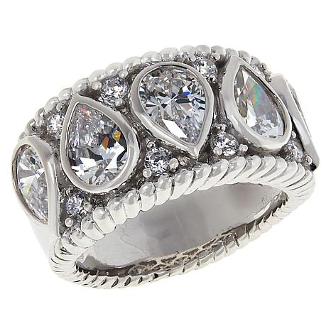 Absolute™ Sterling Silver Cubic Zirconia Bezel-Set Pear and Pavé Ring