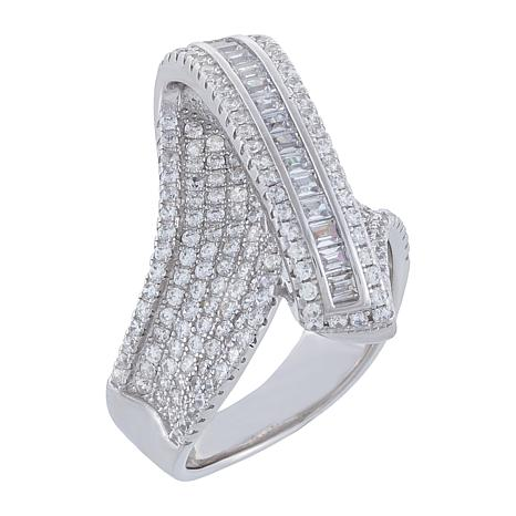Absolute™ Sterling Silver Cubic Zirconia Bypass Optic Ring