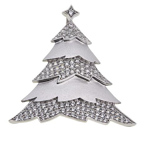 Absolute™ Sterling Silver Cubic Zirconia Christmas Tree Pin/Pendant