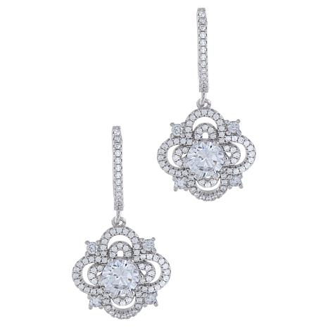 Absolute™ Sterling Silver Cubic Zirconia Floral Style Drop Earrings