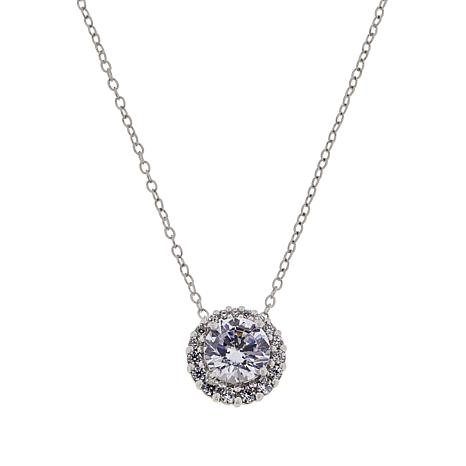 """Absolute™ Sterling Silver Cubic Zirconia Halo Pendant with 18"""" Chain"""