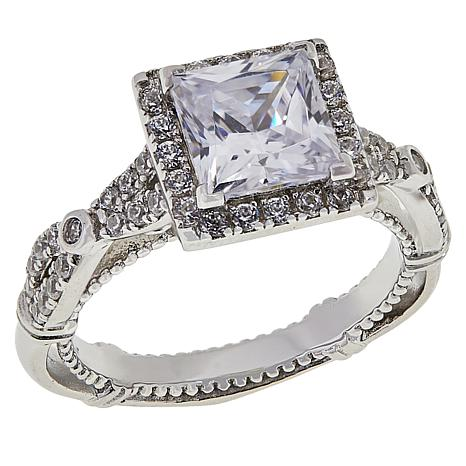 Absolute™ Sterling Silver Cubic Zirconia Milgrained Halo Ring