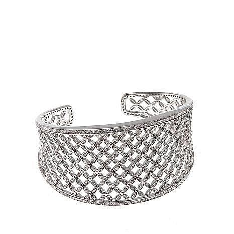 Absolute™ Sterling Silver Cubic Zirconia Openwork Flower-Style Cuff
