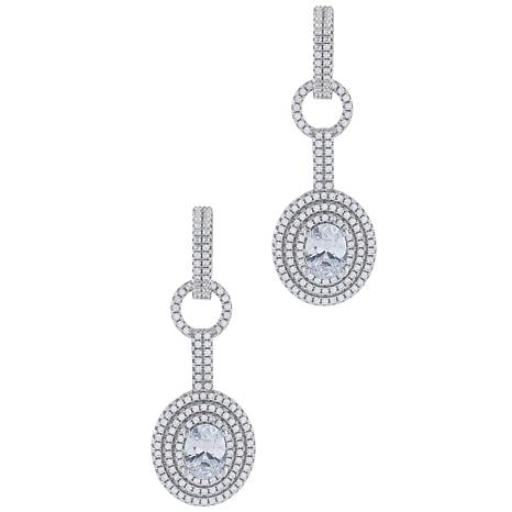 Absolute™ Sterling Silver Cubic Zirconia Oval Cut Halo Drop Earrings