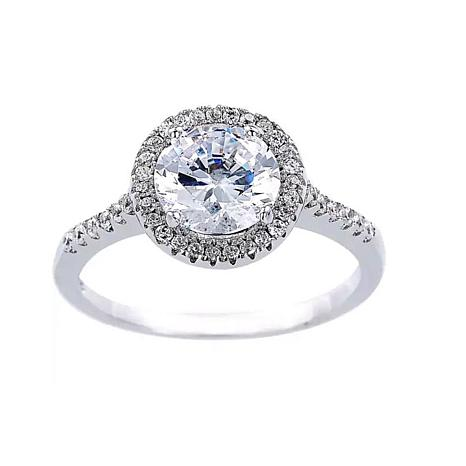 Absolute™ Sterling Silver Cubic Zirconia Round Pavé Halo Ring