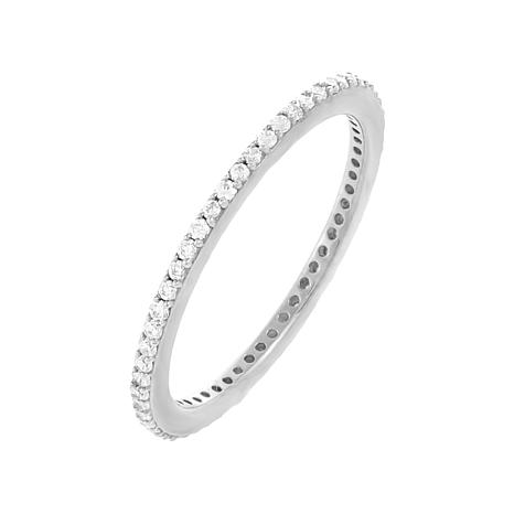 Absolute™ Sterling Silver Cubic Zirconia Stackable Eternity Band