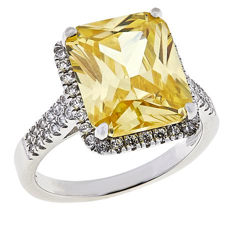 Absolute™ Sterling Silver CZ Canary and Clear Emerald-Cut Pavé Ring
