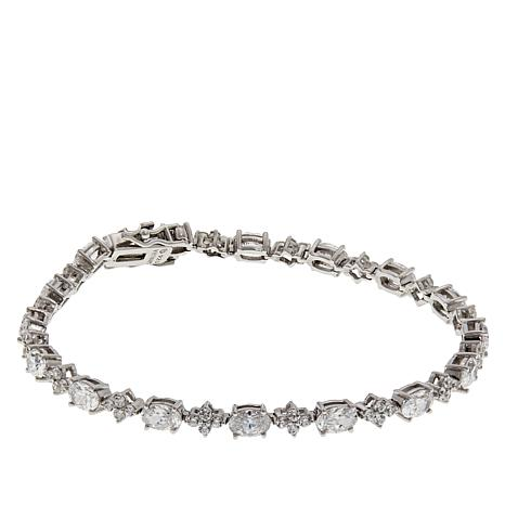 Absolute™ Sterling Silver Oval and Round Cluster Line Bracelet