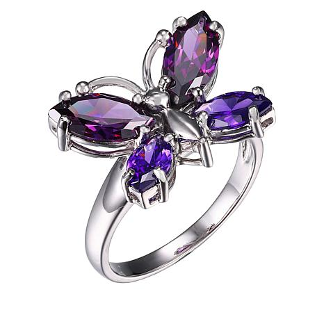 Absolute™ Sterling Silver Purple Cubic Zirconia Butterfly Ring